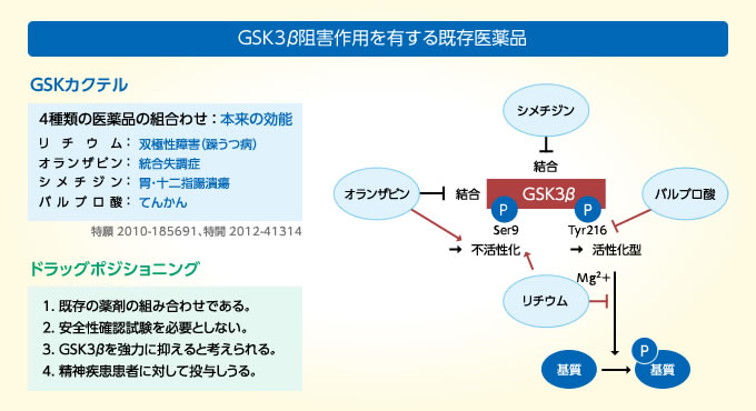 GSK3β阻害作用を有する既存医薬品